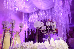 Close up candles adl beautiful ball crystal and .wedding decoration background with effect filter  vintage style Royalty Free Stock Image