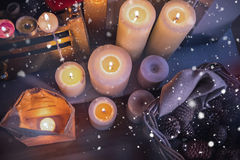 Close-up of candles burning Royalty Free Stock Images