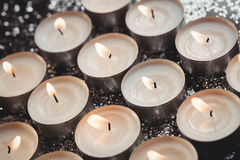 Close-up of candles burning. During christmas time Royalty Free Stock Images