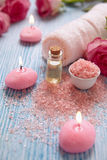 Close-up of candles and flowers Royalty Free Stock Photo