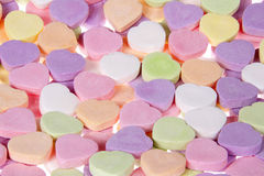 Close up candy hearts for your sweetheart. Blank no message Royalty Free Stock Photo