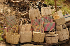 Close-up of Cane Baskets for Sale Stock Photos