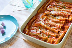 Close up of cannelloni lasagne with spinach and ricotta Royalty Free Stock Photos