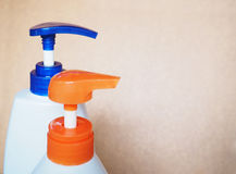Close up cap of plastic pumping lotion bottle Stock Images