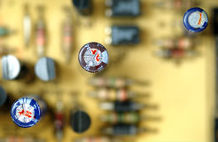 Close-up capacitors on a circuit board Stock Photography