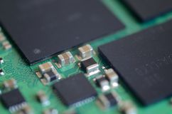 Close up capacitors with CSP on circuit board Royalty Free Stock Photos