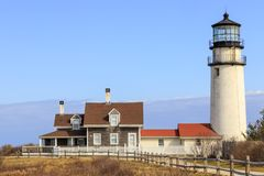 Cape Cod Light Close Up. Close-up of Cape Cod or Highland Light with cloud bank behind owned by National Park Service royalty free stock image