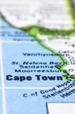 Close up of Cape town on map, south africa Royalty Free Stock Images