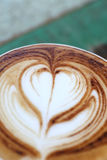 Close up cappuccino coffee on table Royalty Free Stock Photo