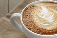 Close up of cappuccino with latte art Royalty Free Stock Photos