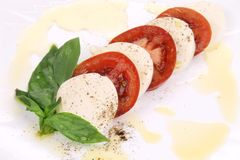 Close up of caprese salad. Royalty Free Stock Photos