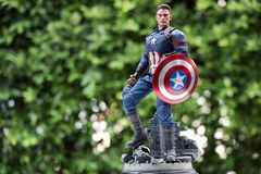 Close up of Captain America Civil War superheros figure  actio royalty free stock image