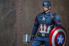 Close up of Captain America Civil War superheros figure action