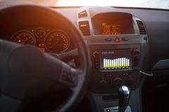 Close-up of car audio system with equalizer. stock photo