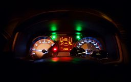 Close up car dashboard with black background. Car dashboard with black background Royalty Free Stock Photography