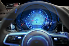 Close up of car dashboard and steering wheel. Transport, drive and technology concept - close up of car dashboard with speedometer and tachometer royalty free stock photography