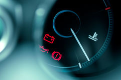 Close-up on car dashboard. And warning icon stock photo
