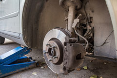 Close up of car disc brakes Royalty Free Stock Images