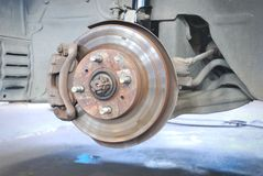Close up of car disk brake Royalty Free Stock Photos