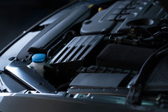 Close up of car engine. Check it regularly. Close up of car engine under bonnet Stock Image