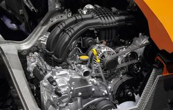 The close up of car engine, car engine parts. The close up of car engine with car engine parts royalty free stock photo