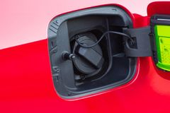 Close-up. Car Gas Tank - Fueling Theme. Transportation Photo Collection. royalty free stock images