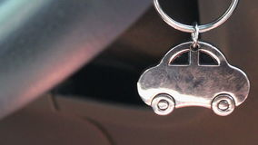 Close up on car key chain stock video footage