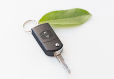Close up of car key and green leaf Stock Photo