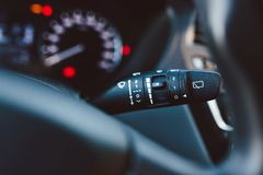 Close up on car rain windscreen wiper control stick Stock Images