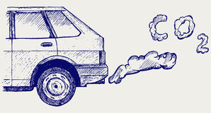 Close up of a car's fumes emissions in the traffic jam. Doodle style Royalty Free Stock Image