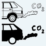 Close up of a car's fumes emissions in the traffic jam Royalty Free Stock Images