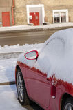 Close up of car side covered with snow in parking Royalty Free Stock Photos