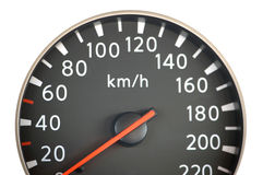 Close up of car speedometer. With red arrow Stock Photography