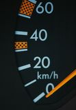 Close up of car speedometer se. Close up of car speedometer  set to zero Stock Photo