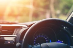 Free Close Up, Car Steering Wheel At The Driver`s Seat Royalty Free Stock Photo - 147674555