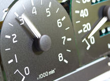 Close up of car tachometer. Royalty Free Stock Photo
