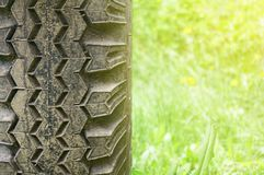 Close-up of tires. Abstract background. stock photos