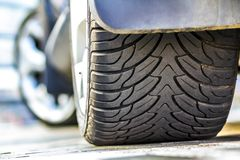 Close up of car tire, selective focus. Stock Images