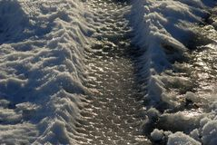 Close-up car tire tracks in ice Stock Photography