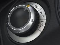 Close up of a car wheel drive control selector. Close up of a car wheel drivel selector Royalty Free Stock Photo