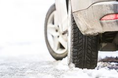 Close-up of car wheel in winter tire on snowy road Royalty Free Stock Photos