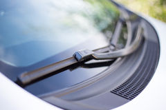 Close up of car windshield wipers royalty free stock photography
