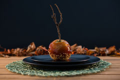 Close up of caramelized apple served in plate Royalty Free Stock Photos