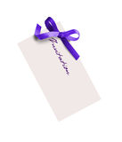 Close up of card note with purple ribbon Stock Photos