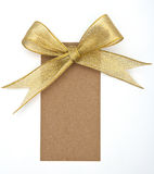 Close up of card note with ribbon Royalty Free Stock Image