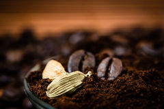Close up of  cardamon and coffee beans Royalty Free Stock Images