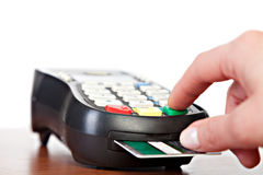 Close-up of cards servicing with POS-terminal Stock Photography