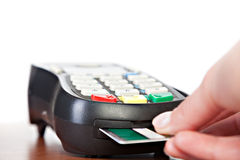 Close-up of cards servicing with POS-terminal Stock Photos