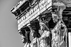 Close-up cariatides black and white. Close-up of the first 4 cariatides  athens Royalty Free Stock Photo