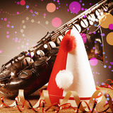 Close up Carnival Hat, Streamers and Saxophone Royalty Free Stock Photo
